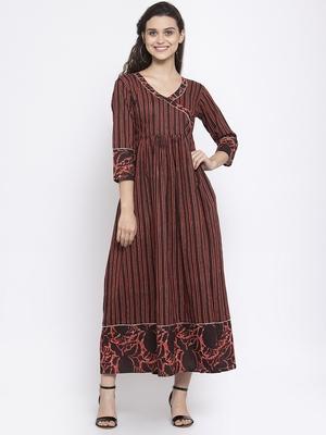Coffee printed cotton maxi-dresses