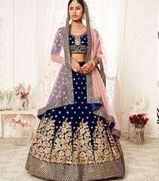 Gorgeous Navy Blue Zari Embroidered Wedding Bridal Velvet Lehenga Choli with Dupatta