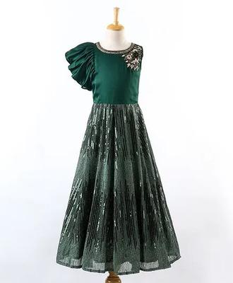 Bottle Green Sequence All-Over Kalli Designed Sleeveless Gown for Girls