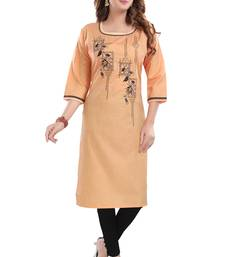Peach embroidered cotton poly embroidered-kurtis