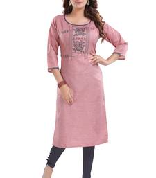 Pink embroidered cotton poly embroidered-kurtis