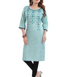 Blue embroidered cotton poly embroidered-kurtis