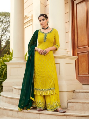Yellow Faux Georgette Shtraight style Plazzo Suit In Embroidery work Mirror Work