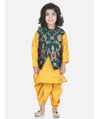 green Attached Jacket Jacquard Dhoti Kurta