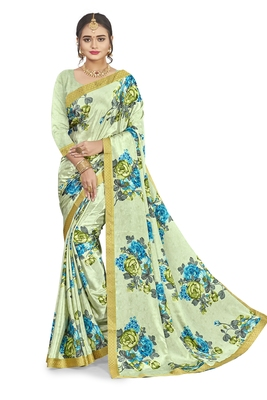 Light green printed crepe saree with blouse