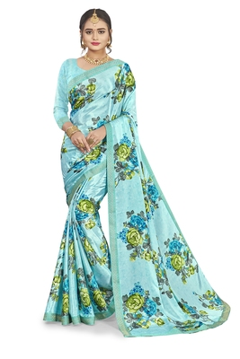Sky blue printed crepe saree with blouse