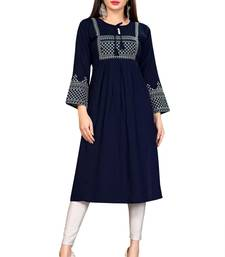 WOMEN'S BLUE RAYON EMBROIDERY READYMADE