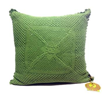 Crochet patterned green cushion cover