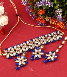 GOLD PLATED With Silver & Blue Pearl DESIGNER Choker Set With Mang Tika