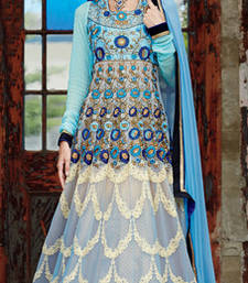 Buy Blue embroidered Pure Georgette semi stitched salwar with dupatta party-wear-salwar-kameez online
