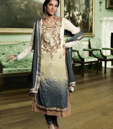 Buy Cream and Grey embroidered Georgette semi stitched salwar with dupatta party-wear-salwar-kameez online