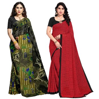 Green,Red Printed Georgette Daily Wear Saree with Blouse Piece(Pack of 2)