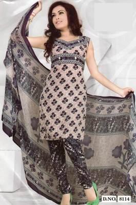 Crepe dress material elegant designer unstitched salwar suit d.no 8114