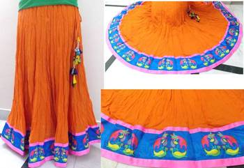 Tangy orange cotton flared long skirt
