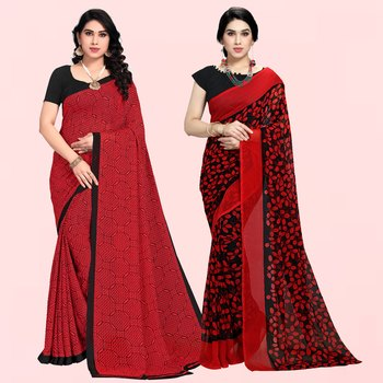 Red,Red,Black Printed Georgette Daily Wear Saree with Blouse Piece(Pack of 2)
