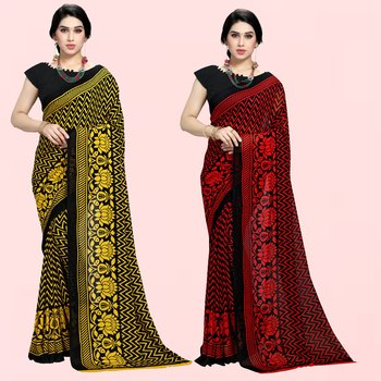 Yellow,Black,Red,Black Printed Georgette Daily Wear Saree with Blouse Piece(Pack of 2)