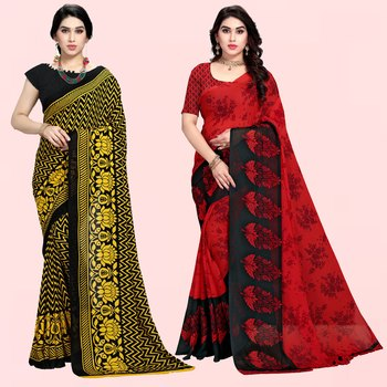 Yellow,Black,Red Printed Georgette Daily Wear Saree with Blouse Piece(Pack of 2)
