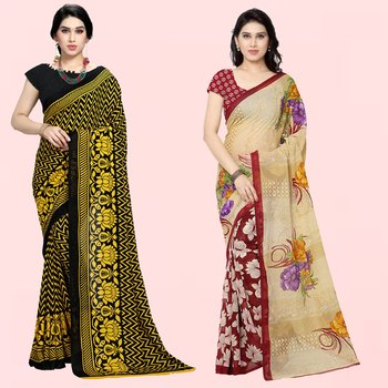 Yellow,Black,Beige,Brown Printed Georgette Daily Wear Saree with Blouse Piece(Pack of 2)