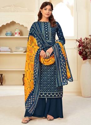 Navy Blue Cotton Printed Salwar Kameez