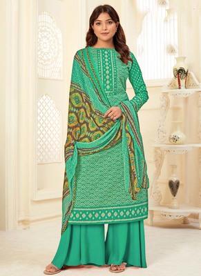 Turquoise Cotton printed Salwar Kameez