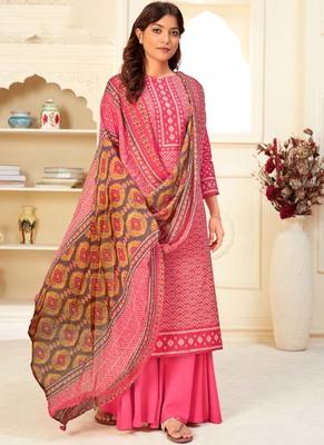 Dark Pink Cotton printed Salwar Kameez