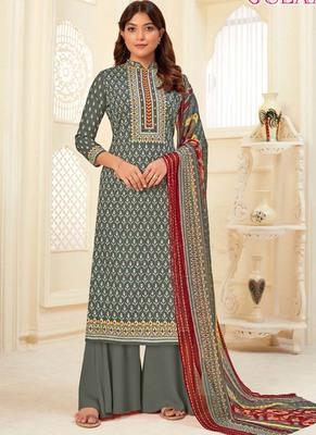Grey Cotton printed Salwar Kameez