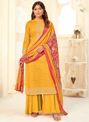 Yellow Cotton printed Salwar Kameez