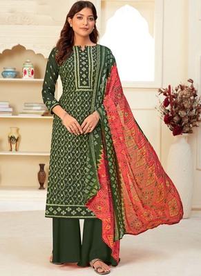 Dark Green Cotton printed Salwar Kameez