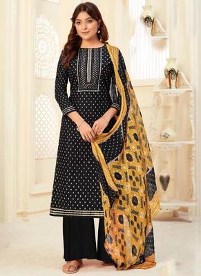Black Cotton printed Salwar Kameez