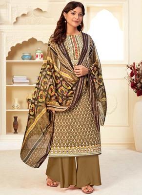 Beige Cotton printed Salwar Kameez