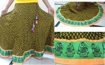 Block printed cotton long skirt with doll border