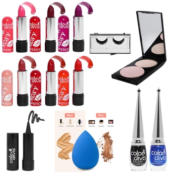 Makeup Kit Combo with Compact Powder & Lipstick (Pack of 12)