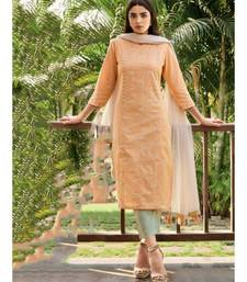 red Cotton Linen KURTI  PANNT &  Dupatta set