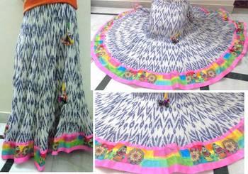 White/blue ikkat print cotton long skirt