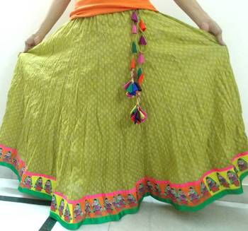 Olive green block printed cotton long skirt