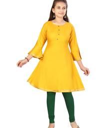 Yellow plain cotton kids-tops