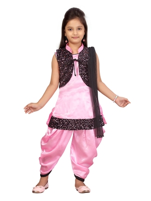 Pink hand woven silk girls-top-bottom