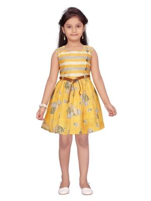 Yellow plain pure cotton kids-frocks