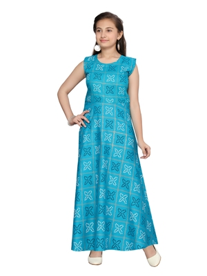 Turquoise printed pure cotton kids-frocks