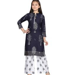 Blue printed pure cotton girls-top-bottom