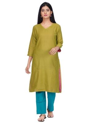 Green woven cotton kurtas-and-kurtis