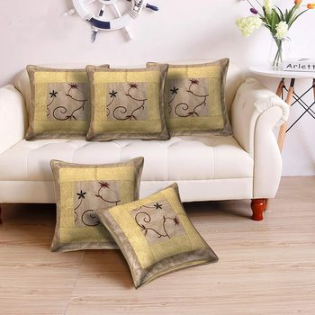 Cushion Cover Cream Color Flower Print Set of 5 (16 X 16 Inch)