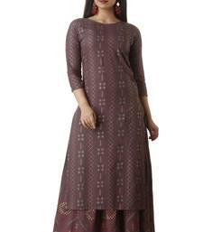 Brown block print cotton salwar