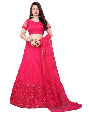 Red Colored Partywear Designer Embroidered Malay Satin Lehenga Choli