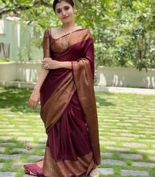 Wine Kanjivaram Soft Litchi Silk Saree With Blouse Piece