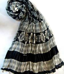 Buy White & black cotton dupatta stole-and-dupatta online
