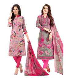 Pack of 2 Synthetic Printed Unstitched Dress Material Combo