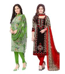 Women's multicolor crepe printed Unstitched Dress Material Combo pack of 2