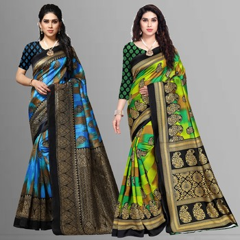 multicolor printed art silk saree with blouse combo pack of 2 saree
