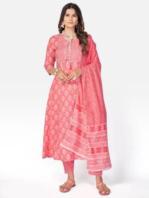 Women's Printed & Handwork Anarkali Cotton Pink Kurta With Pant & Dupatta